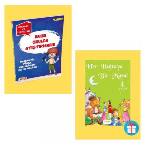 Key Yayınları 4. Sınıf Evde Okulda Atıştırmalık Etkinlik ve Test Kitabı (Masal Kitabı Hediyeli)