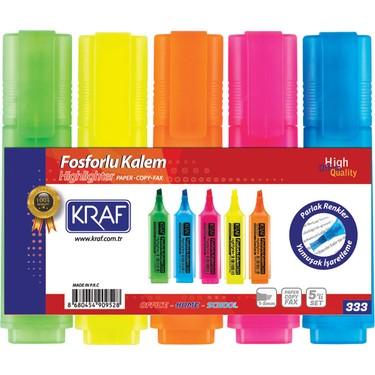 Kraf Fosforlu Kalem Seti 5 Renk