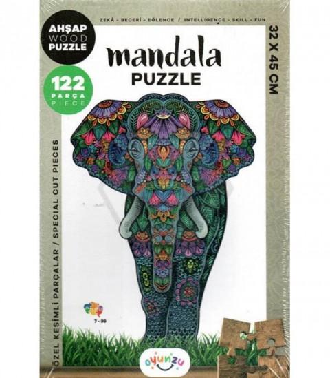 Oyunzu Fil Ahşap Mandala Puzzle 122 Parça