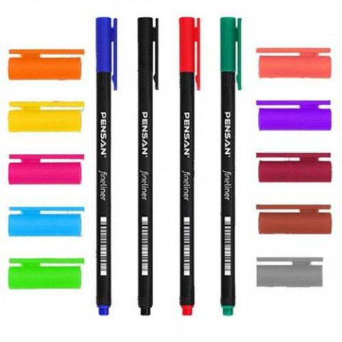 Pensan 6500 Fineliner 10 Renk Plastik Kutulu